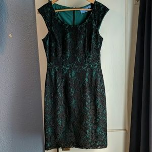 Black & Emerald Lacey Dress